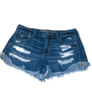 American Eagle Tomgirl Shortie Distressed Shorts